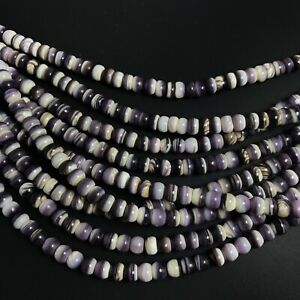 "15.5"" - Natural Purple Wampum Quahog Shell 6mm Roundel Beads, NEW DIY Thicker"