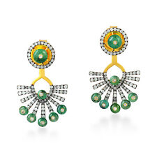 Emerald Ear Jackets 1.15ct Pave Diamond 18k Gold 925 Sterling Silver Jewelry
