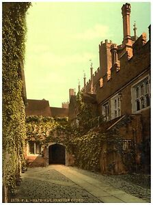 Hampton Court Palace Gateway London Vintage photochrome print ca. 1890