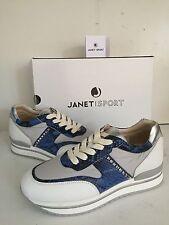 SCARPE JANET & JANET SPORT N 36 MADE ITALY NEW 2016 BIANCO PERLA BLU