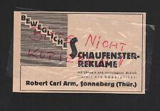 SONNEBERG, Werbung 1931, Robert Carl Arm Schaufenster-Reklame mit Uhrwerk