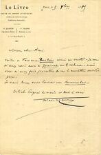 🌓 Octave UZANNE lettre autographe signée 1885 BARBIER Régence LOUIS XV