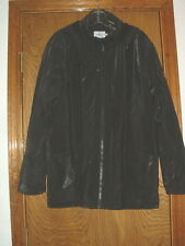Calvin Klein Black Zippered Hooded Rain Coat Lined Large