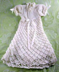 """Handmade Baby Girl Baptismal Christening Gown White Yarn Crochet Knit 32"""" Long"""