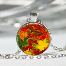 Leaf photo Tibet silver Dome Glass Cabochon Necklace chain Pendant #287