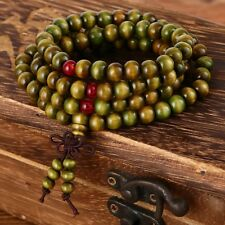 Natural Sandalwood Mala Bracelet 108 6mm Green Beads Buddhist Rosary Prayer