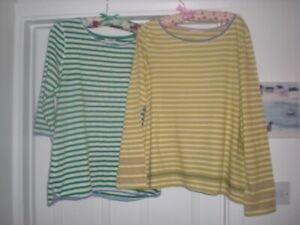 TWO WHITE STUFF LONG SLEEVED STRIPEY TOPS  BOTH SIZE 14