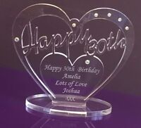 Personalised 30th Birthday Gift Heart with message -  Free Standing Keepsake