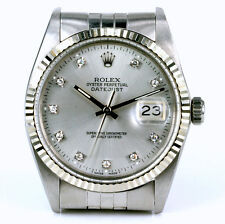 MENS STAINLESS QUICKSET ROLEX DATEJUST W/ SILVER DIAMOND DIAL & ORIGINAL BAND