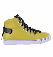 DOLCE & GABBANA High-Top Zip-Up Sneakers Yellow Made in Italy Sneaker Shoes 0464