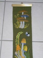"Vtg 70's Erica Wilson Crewel Embroidered Bell Pull Mushrooms 5.5"" x 43"" VGC"