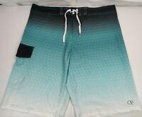 OP Flex 4-Way Stretch Teal Green Black Plaid Board Shorts Swim Trunks Mens 36