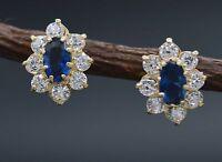 JM22 14K Solid Yellow Gold 10mm Flower Blue Cubic Zirconia CZ Dangle Earrings
