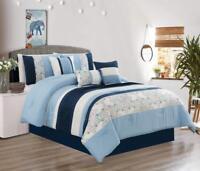 Modern 7 Piece Oversize Comforter Set Bedding with Accent Pillows Blue Cal King