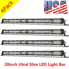 4X 20inch 156W Led Light Bar Slim Single Row Spot Flood Combo Work UTE SUV ATV