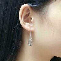 Frauen Einfache Schmuck Mode Silber Hohl Geschnitzte Ohrringe Wassertropfen