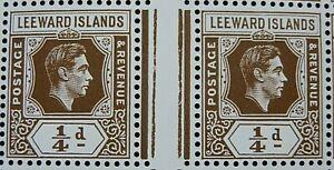 LEEWARD ISLANDS 1938-51 SG95a. KGVI ¼d.DEEP BROWN GUTTER PAIR  -  MNH