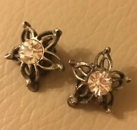 Clip On Earrings Vintage Retro Mid Century Glass Paste Flower ST Bridal