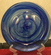 Artistic Accents Cobalt Blue Clear Glass Swirl Salad Plate Turkish New set of 4