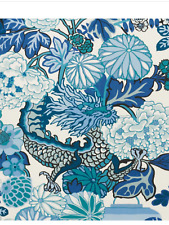 SCHUMACHER CHINOISERIE CHIANG MAI DRAGON FABRIC Indoor/ Outdoor NEW! SAMPLE Blue