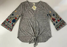 Fig And Flower Women's Light Weight Knit Pullover Sweater Gray Floral M