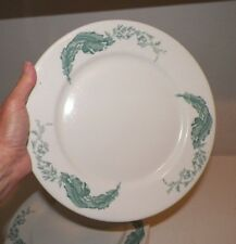 "VINTAGE IROQUOIS CHINA RESTAURANT WARE DINNER PLATE TEAL BANANA LEAF 10 1/2"""