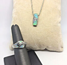 MATCHING SET! 925 Sterling Silver- Opal Necklace & Ring Set - Sz7~10.8g   #938