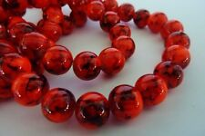 80 pce Round Fire Red Drawbench Glass Spacer Beads 10mm Jewellery Making Craft
