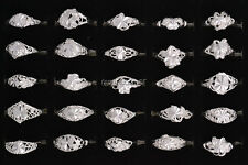 10ps Wholesale Jewelry Lots Mixed Style Silver Plated Vintage Rings Wedding FREE