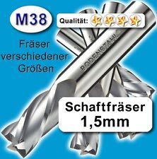 1,5mm Fräser L=51 Z=2 M38 Schaftfräser Metall Kunststoff Holz vergl. HSSE HSS-E
