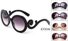 Round Sunglasses Swirl Temple Designer Eyewear Classic Retro Vintage UV 100%