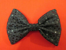 Black Sparkly Shiny Sequin Bow Tie On Elastic Fancy Dress Clown