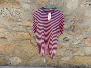 MARIMEKKO   pink/green striped JUMBO tunic TASARAITA cotton jersey  MEDIUM BNWT