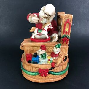 "VTG Santas WorkShop ELF Musical Music Box Figure ""Here Comes Santa Claus"" Toys"