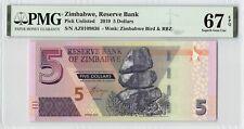Zimbabwe 2019 PMG Superb Gem UNC 67 EPQ 5 Dollars