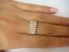 14K ROSE GOLD 1.04 CARAT T.W. 4 ROW DIAMOND PYRAMID BAND-RING, 4.7 GRAMS, SIZE 7