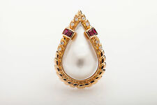 Vintage RETRO 1ct Natural Ruby VS G Diamond PEAR CUT Mabe Pearl 14k Gold Ring