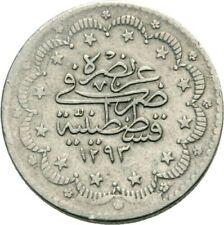 Ottoman Empire 5 Kurush AH1293 1885 Sultan Abdul Hamid Turkey Silver NICE COIN