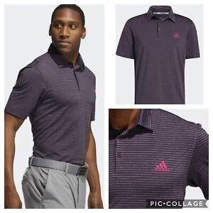 Adidas Golf Men's Ultimate Space Dye Striped Polo Shirt- Purple / Berry / Blue