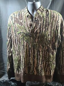 Rattlers Brand Camo Sweater Large Acrylic vtg ***small hole ***