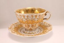 19th Century Meissen Gold Relief Cup And Saucer