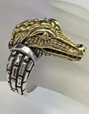 Barry Kieselstein Cord 14k Yellow Gold & Sterling Silver Alligator Ring RARE