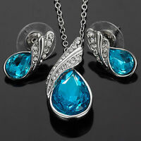 Xmas Austrian Elements Crystal Aquamarine Earrings Pendant Necklace jewel Set