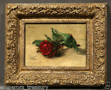 """19th Century Oil Painting signed Henri-Fantin-Latour """"Red Rose"""" (One of Pair)"""