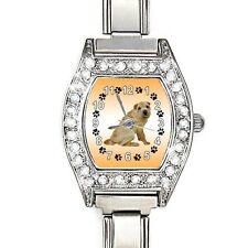 Shar-Pei Dog CZ Ladies Stainless Steel Italian Charms Wrist Watch BJ1004