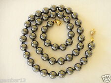 "Grey 10mm Hematite Beaded Necklace 23"" Long Hand Knotted 10 mm Haematite Unisex"