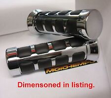 "Universal Moto 22mm 7/8 ""Personalizado Cojín Grips Chrome mecanizado de aleación"
