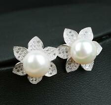 Dr. Pearl 9-10 mm White Pearl Stud Earring Sterling silver with petals shape