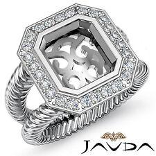 Diamond Engagement Huge Unique Ring Platinum 950 Emerald VS Semi Mount 0.35Ct