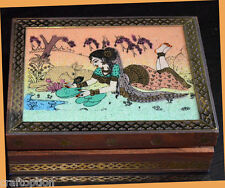 Wooden jewelry box with glass gem stone painting and brass border from India!